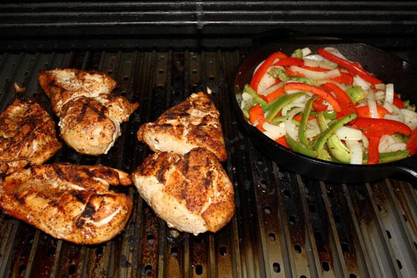 grilling chicken fajitas