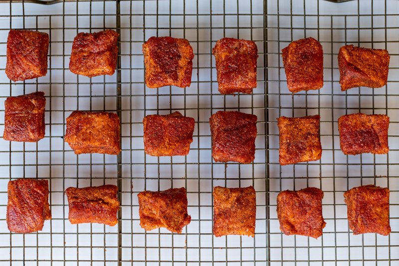 Cubed and Seasoned Pork Belly